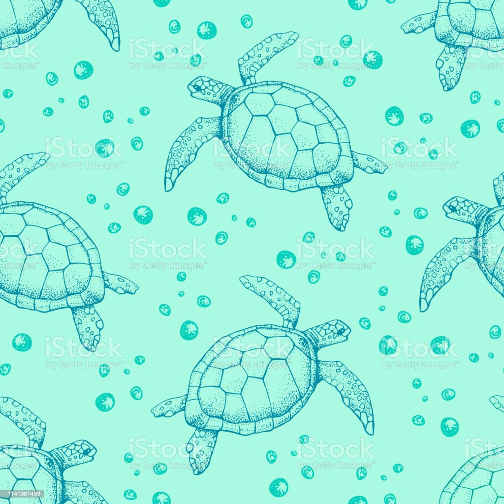 seamless pattern with hand drawn sea turtles vector with animal