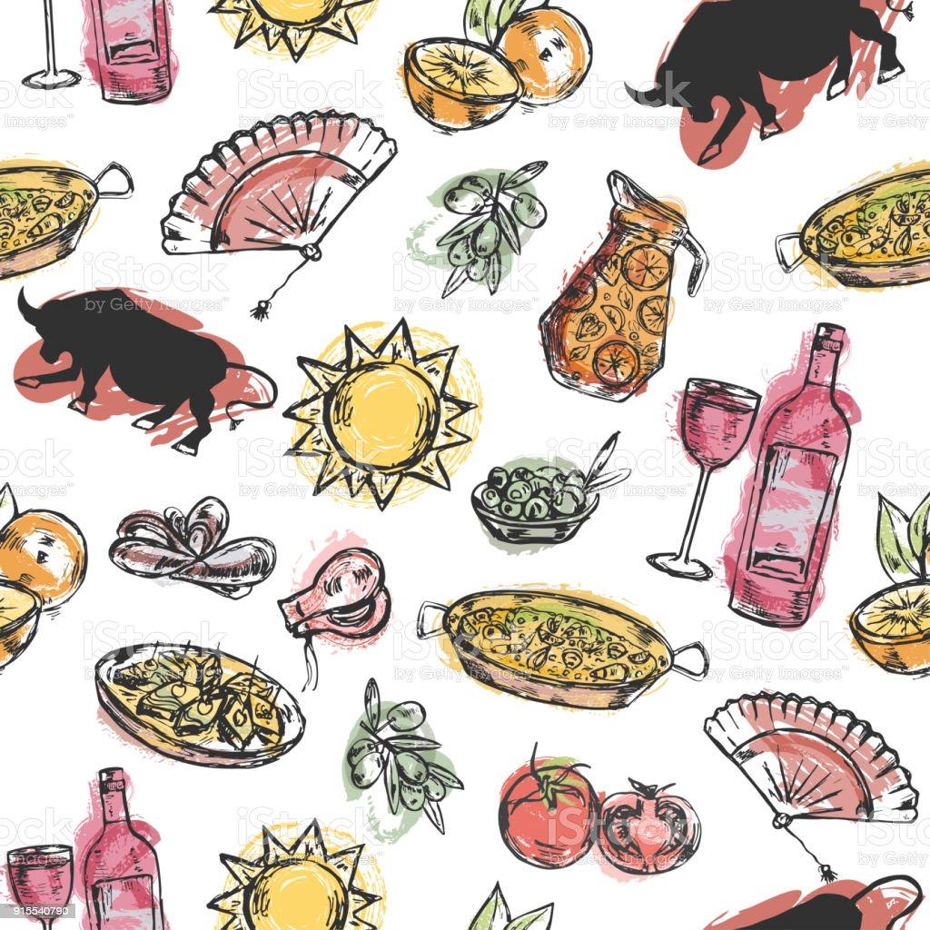 Patrón sin fisuras con símbolos españoles dibujados a mano - ilustración de arte vectorial
