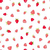 Seamless pattern with hand drawn strawberries. Vector illustration.