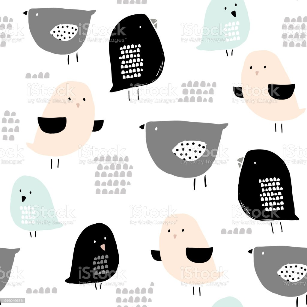Seamless pattern with hand drawn tiny birds. Trendy scandinavian vector background. Perfect for kids apparel,fabric, textile, nursery decoration,wrapping paper vector art illustration