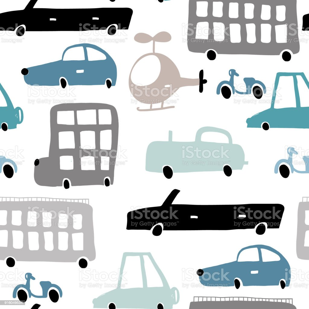 Nahtloses Muster Mit Hand Gezeichneten Transport Cartoon Autos ...