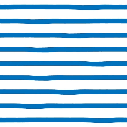 Seamless pattern with hand drawn uneven sailor blue markers stripes isolated on white background. Minimalistic design. Vector illustration.