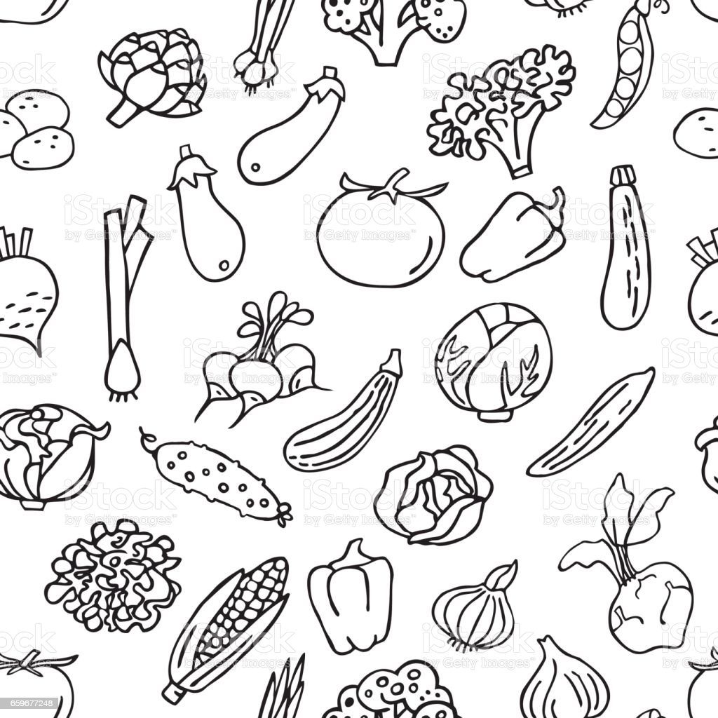Line Art Food : Seamless pattern with hand drawn vegetables perfect