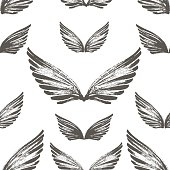 Seamless pattern with hand drawn wings.