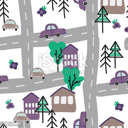 istock Seamless pattern with hand-drawn cars and houses, trees in the Scandinavian style, cartoon children's background, bright texture on the car theme, stylish and simple illustration, vector print 1331108941