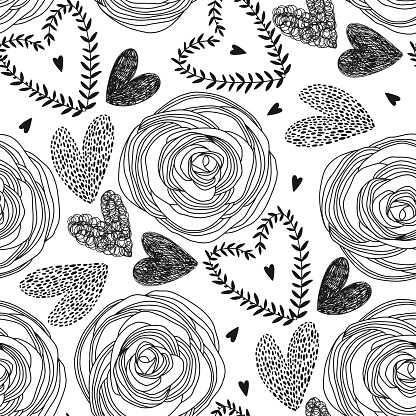 Seamless pattern with hand-drawn hearts and roses on white background. Vector illustration. Romantic background perfect for Valentine's Day, wedding and other romantic events.