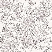 seamless pattern with hand-drawn peony flowers