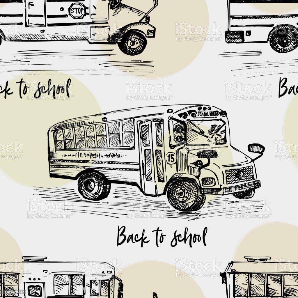 手描きのスケッチバス孤立した背景学校のテーマに戻る教育コンセプト黒