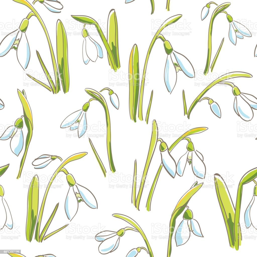 Seamless pattern with handdrawn snowdrops - first spring flowers