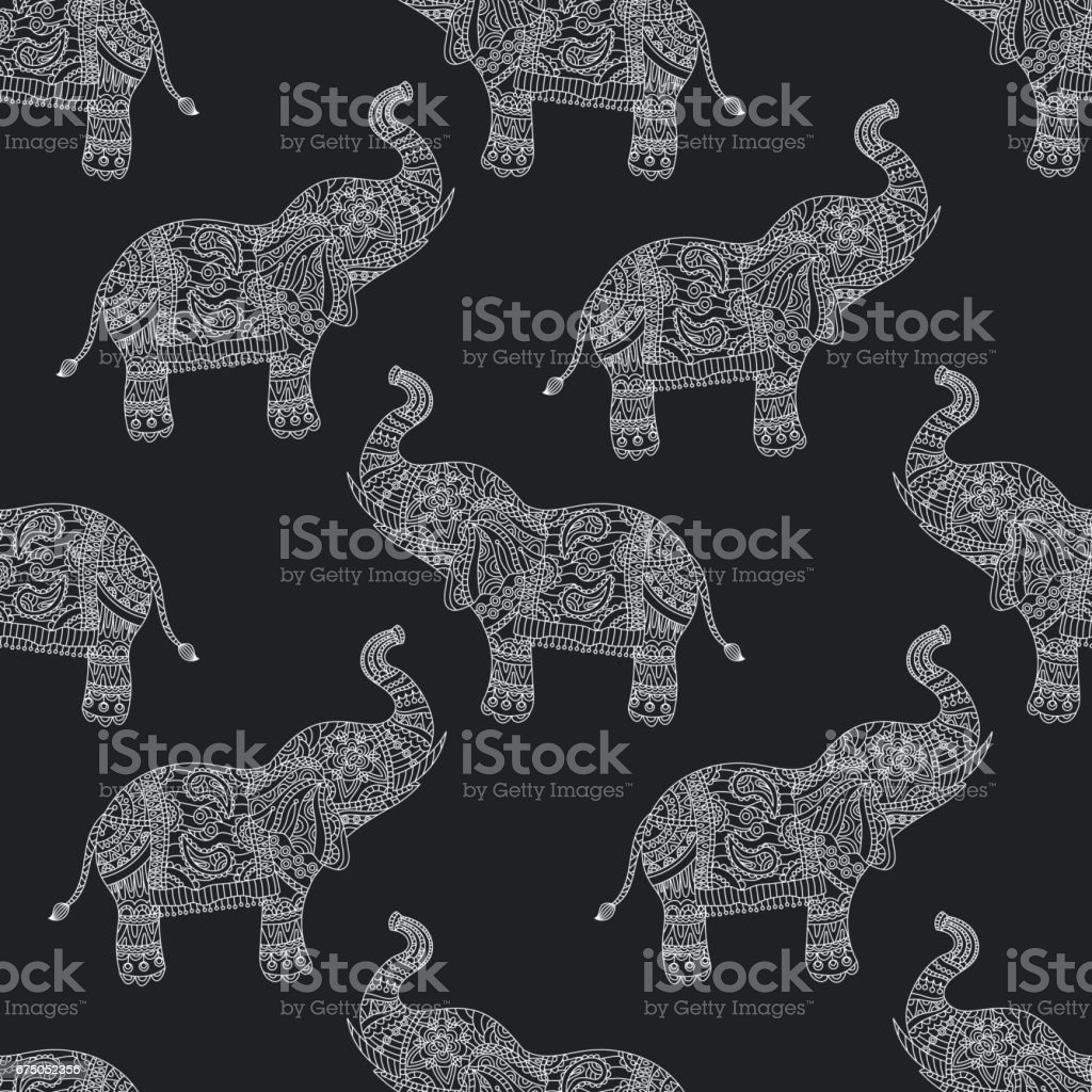 Seamless pattern with hand-drawn tribal styled elephant. Vector ethnic background, vector art illustration