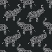 Seamless pattern with hand-drawn tribal styled elephant. Vector ethnic background,