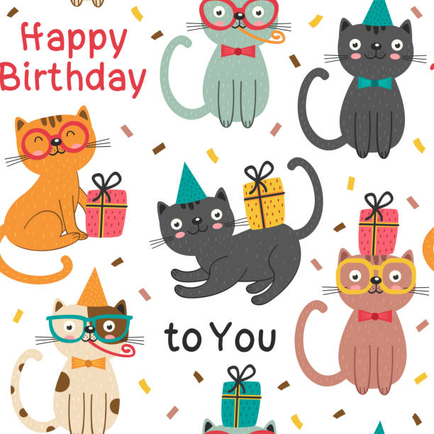 Seamless Pattern With Happy Birthday Cats Vector Art Illustration