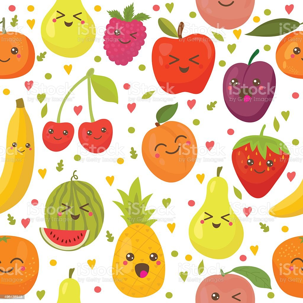 Seamless pattern with happy fruits. Cute background vector art illustration