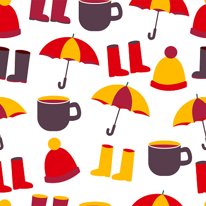 seamless pattern with hat, boots, cup and umbrella.
