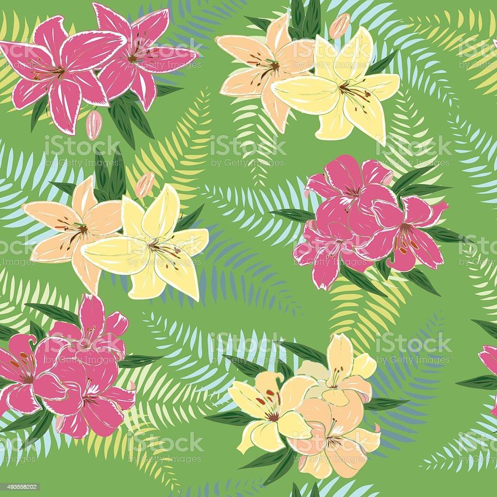 Seamless Pattern With Hawaiian Flower Design Stock Vector Art More