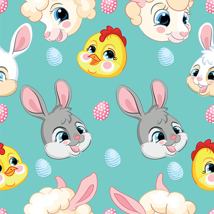 Seamless pattern with heads of rabbits, lambs, chickens
