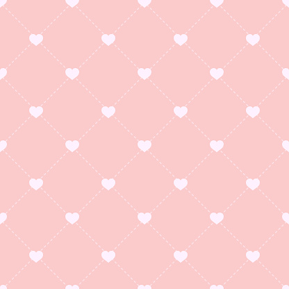 Seamless pattern with hearts and dotted stripes. Valentine's Day backdrop. Pink background with hearts. Vector Illustration.