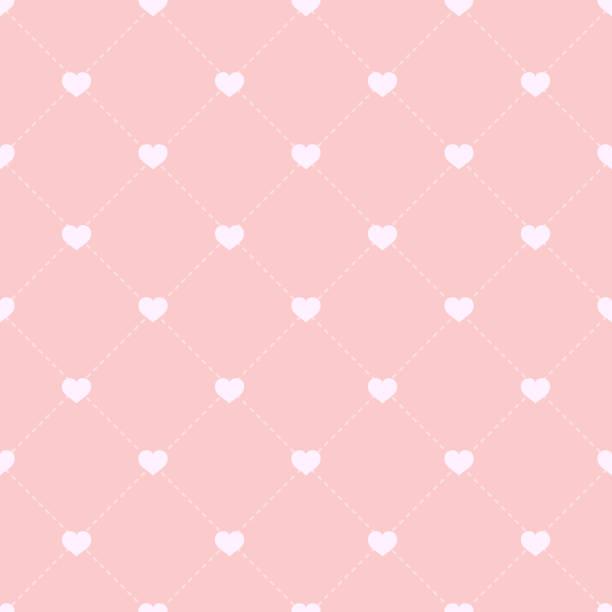 nahtlose muster mit herzen und gepunkteten streifen. valentinstag hintergrund. rosa hintergrund mit herz. vektor-illustration. - tapete stock-grafiken, -clipart, -cartoons und -symbole