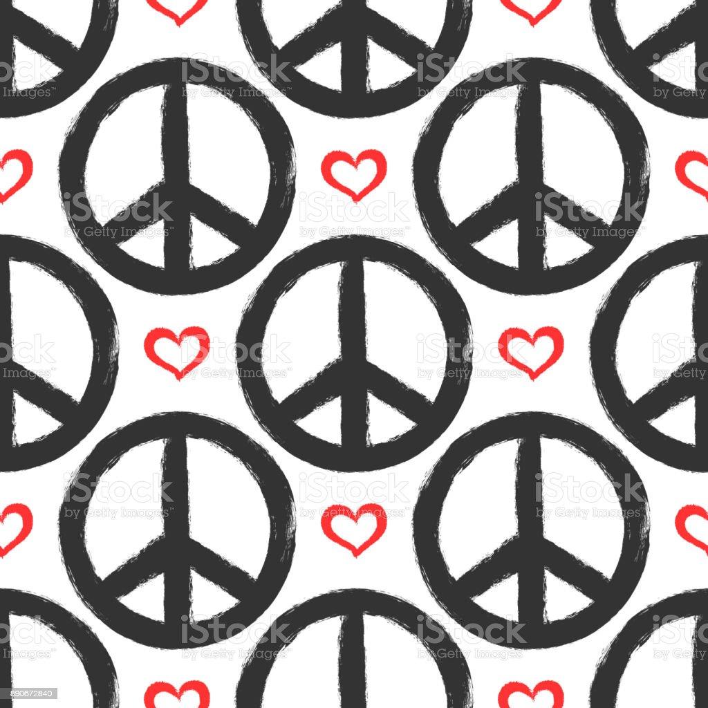 마음과 평화의 징후와 완벽 한 패턴입니다. 그런 지, 낙서, 스케치, 수채화, 페인트. - 로열티 프리 거친 벡터 아트