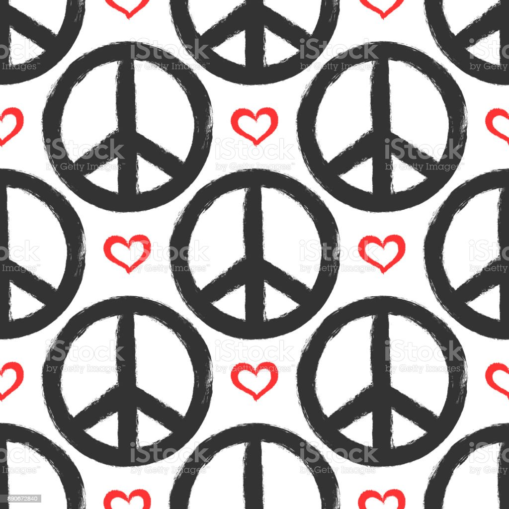 Seamless pattern with hearts and signs of peace. Grunge, graffiti, sketch, watercolor, paint.