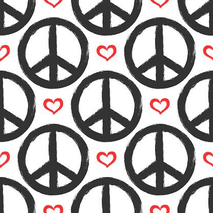 마음과 평화의 징후와 완벽 한 패턴입니다 그런 지 낙서 스케치 수채화 페인트 거친에 대한 스톡 벡터 아트 및 기타 이미지