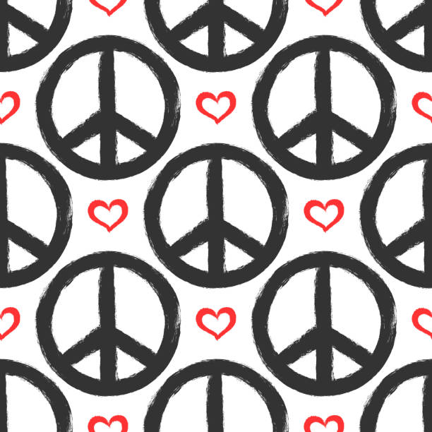 Seamless pattern with hearts and signs of peace. Grunge, graffiti, sketch, watercolor, paint. Seamless pattern with hearts and signs of peace. Grunge, graffiti, sketch, watercolor, paint. Endless vector illustration. symbols of peace stock illustrations
