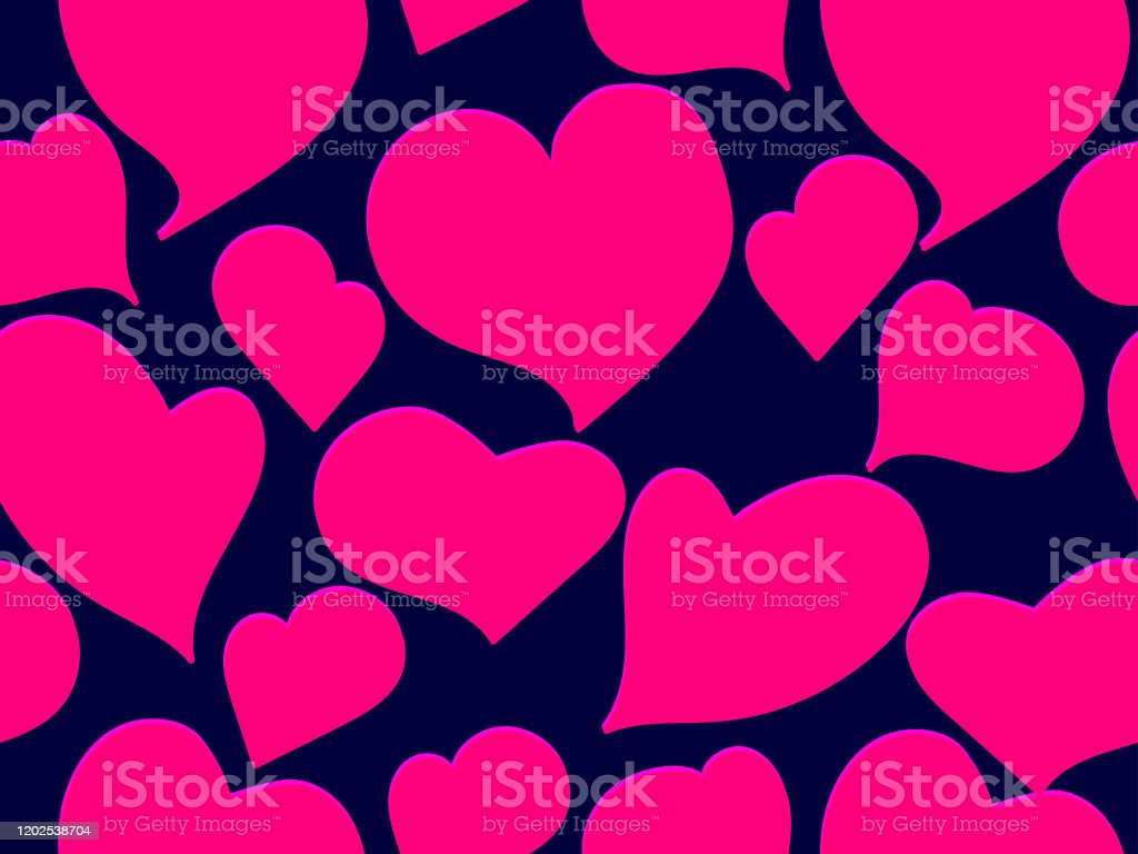 Seamless Pattern With Hearts For Valentines Day Pink Hearts On A Black Background For Greeting Card Wrapping Paper Promotional Materials Vector Illustration Stock Illustration Download Image Now Istock