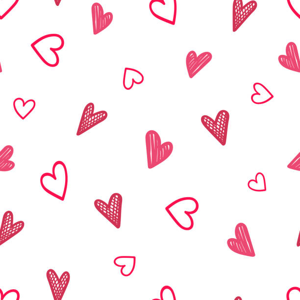Seamless pattern with hearts in Doodle style. vector art illustration