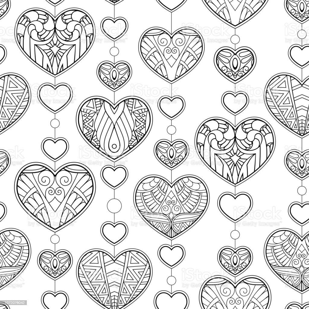 Coloriage Coeur Motif.Modele Sans Couture Dornement De Coeurs Motif Decoratif En