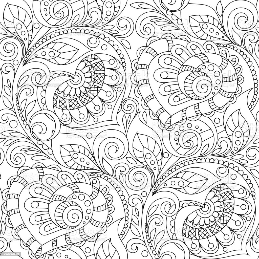 Seamless Pattern With Hearts Ornament Floral Decorative Pattern In ...