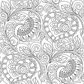 Seamless Pattern With Hearts Ornament Floral Decorative In Zentangle Style Adult Antistress Coloring