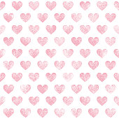 Seamless pattern with pink grunge hearts