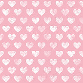 Pink background with white grunge hearts