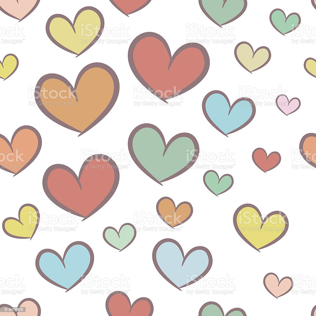 Seamless pattern with hearts vector art illustration