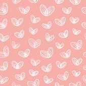 Seamless pattern with hand-drawn white hearts-butterflies on pink background
