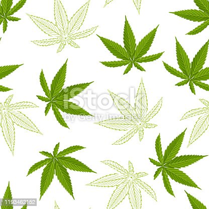 istock Seamless pattern with hemp leaves isolated on white background. Vector illustration of a green cannabis leaf in cartoon flat style and sketch. 1193462152