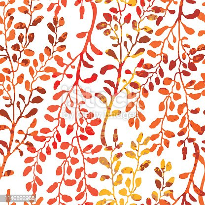 Vector seamless background with colorful watercolor illustration of herbs and plants. Can be used for wallpaper, pattern fills, web page, surface textures, textile print, wrapping paper