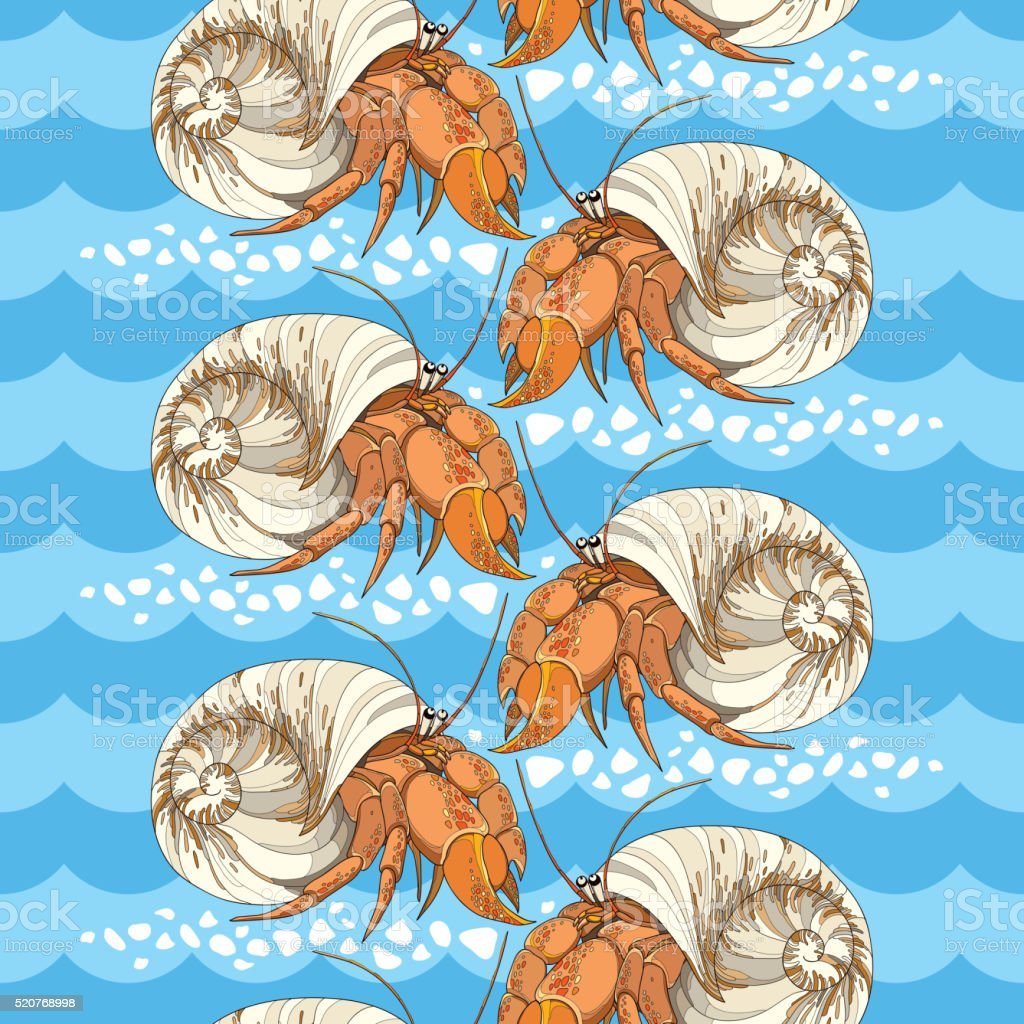 Seamless pattern with Hermit Crab on the background with waves. vector art illustration