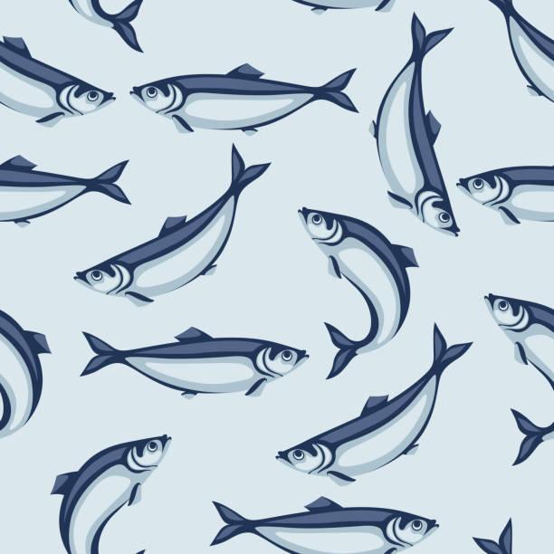 ilustrações de stock, clip art, desenhos animados e ícones de seamless pattern with herring fish. pacific sardine. - aquacultura