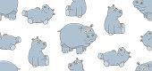 Hippopotamus - Hippopotamus amphibius (30 years) in front of a white background.