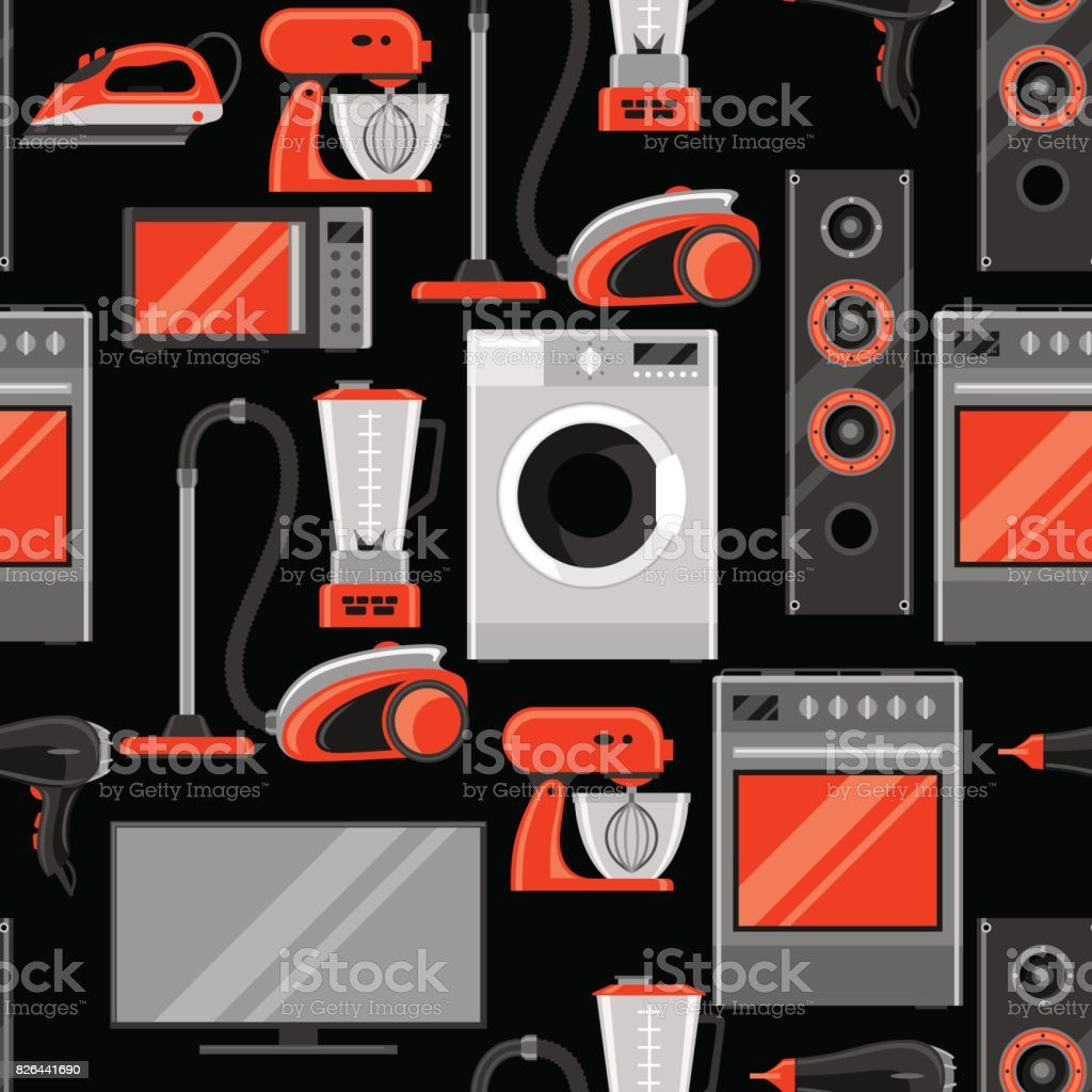 Seamless pattern with home appliances. Household items for sale and shopping advertising background vector art illustration