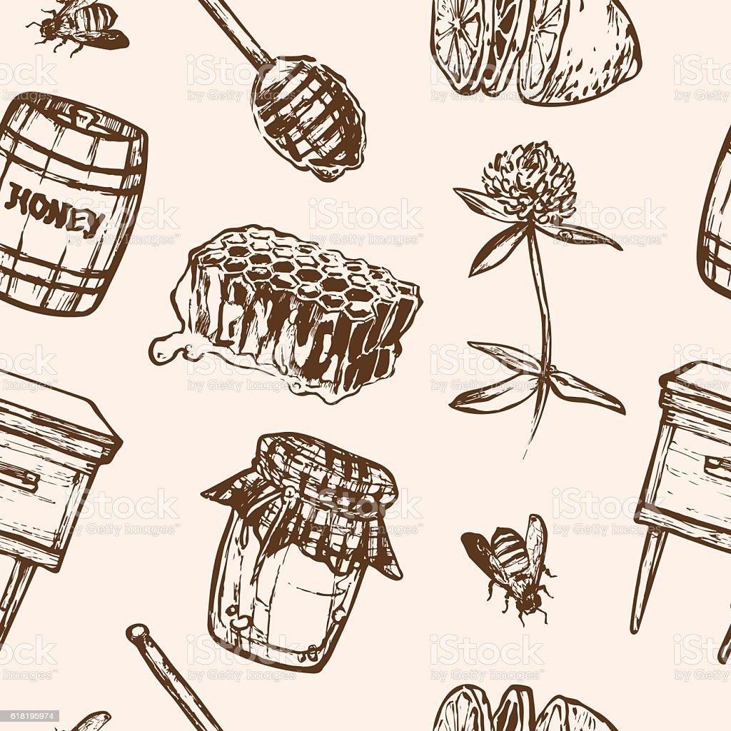 Seamless pattern with honey elements. Jar, spoon, stick, cells, clover vector art illustration