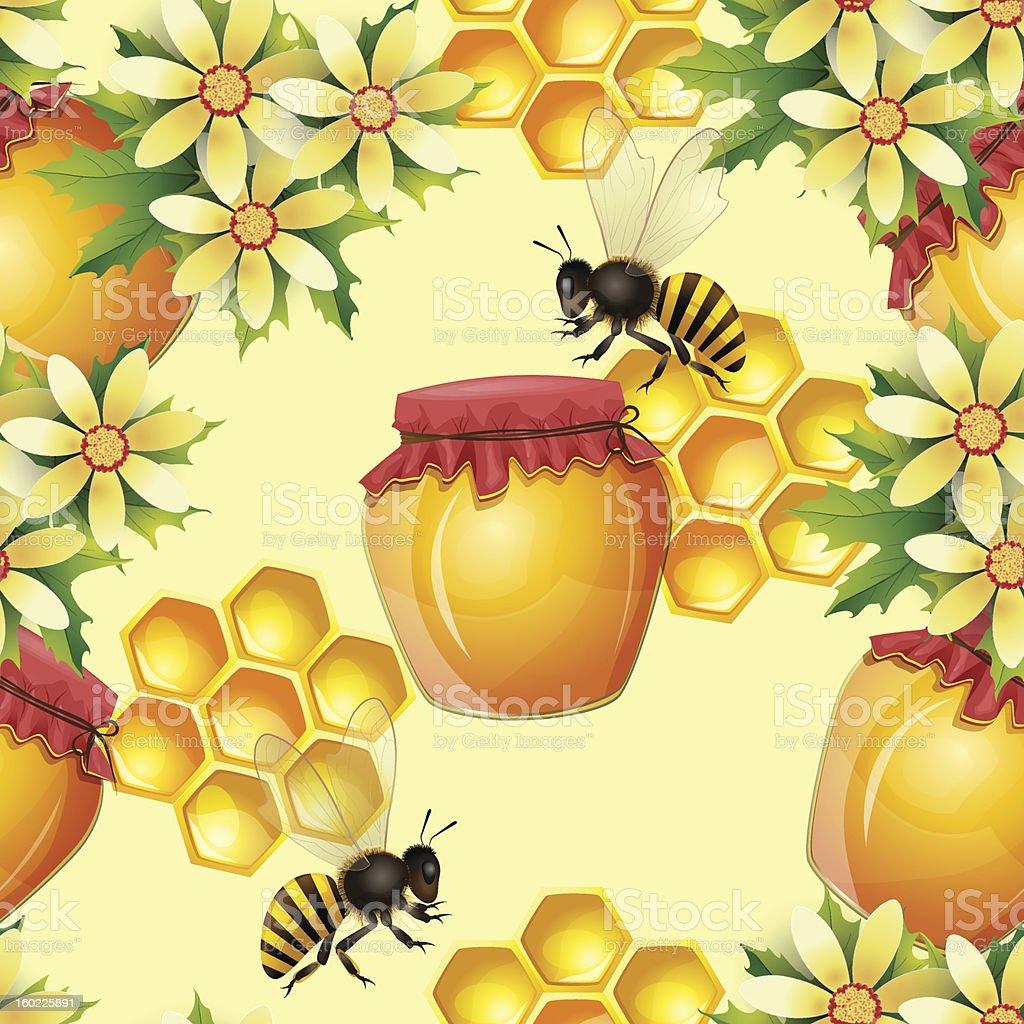 Seamless pattern with honey jar royalty-free stock vector art