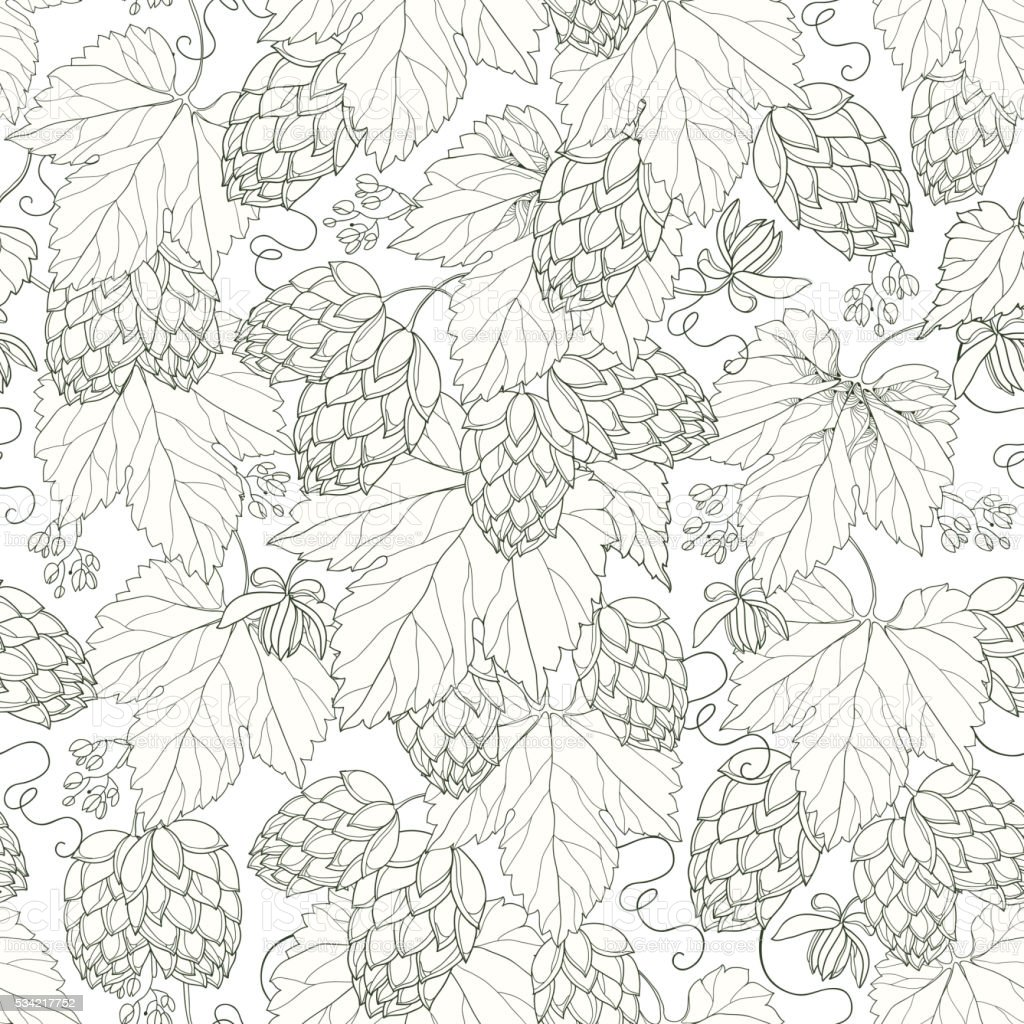 Seamless pattern with Hops and leaves on the white background vector art illustration