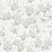 Seamless pattern with Hops and leaves on the white background