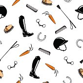 Seamless pattern with horse riding tack on white. Hand drawing cartoon bit, whip, brush, horseshoe, riding boot, snaffle.