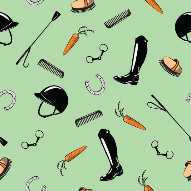 nahtlose muster mit pferd reiten tack tool auf grün. - reiter stock-grafiken, -clipart, -cartoons und -symbole