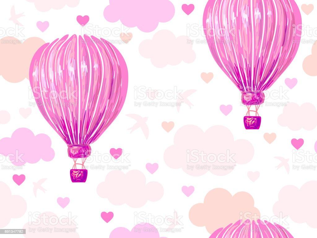 Sıcak Hava Balonu Bulutlar Gökyüzü Kuş Kalp Vektör Arka Plan Ile