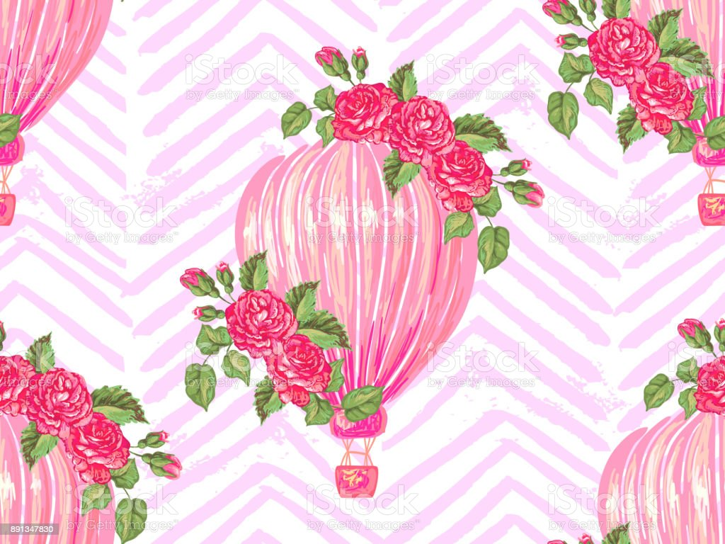 Seamless Pattern With Hot Air Balloon Rose Flower Vector
