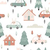 Seamless pattern with cute fox and rabbit in the car,  houses and trees in the winter time. Vector illustration for children.